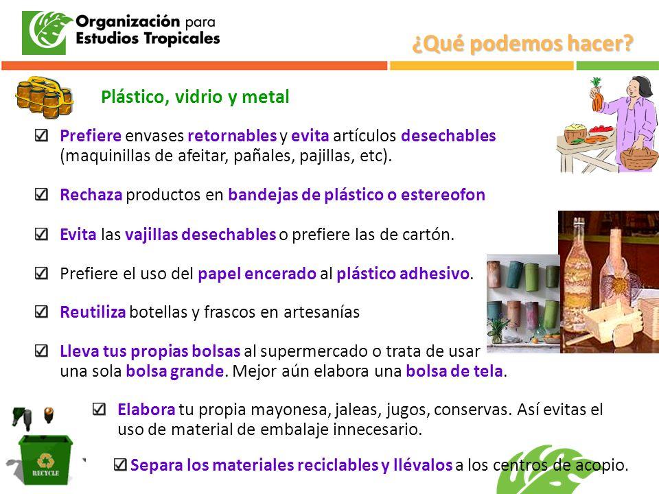 ¿Qué podemos hacer Plástico, vidrio y metal