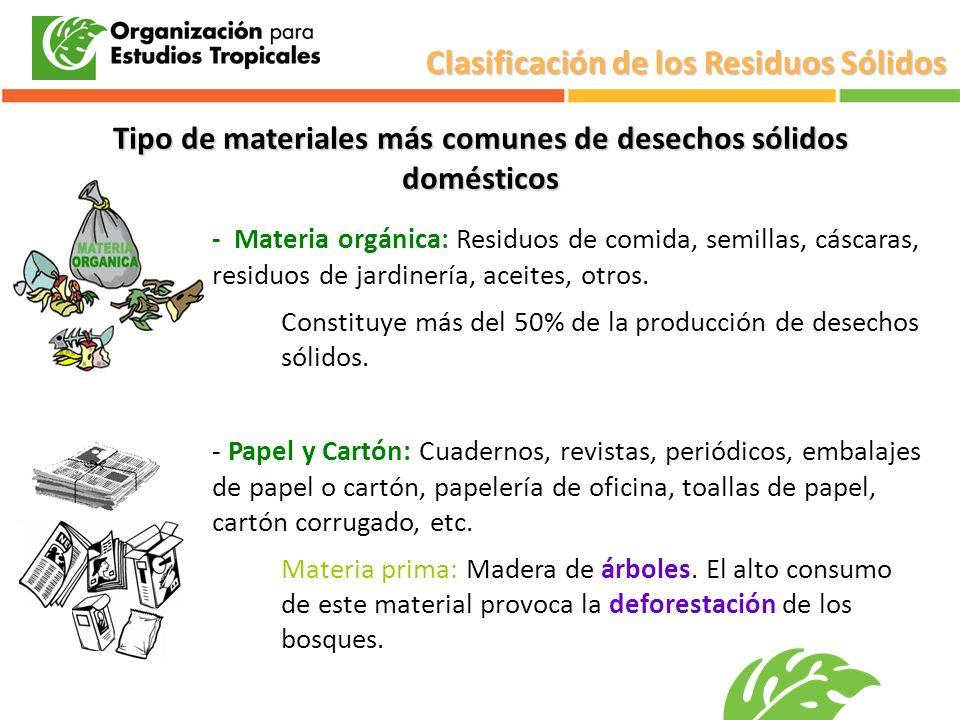 Tipo de materiales más comunes de desechos sólidos domésticos