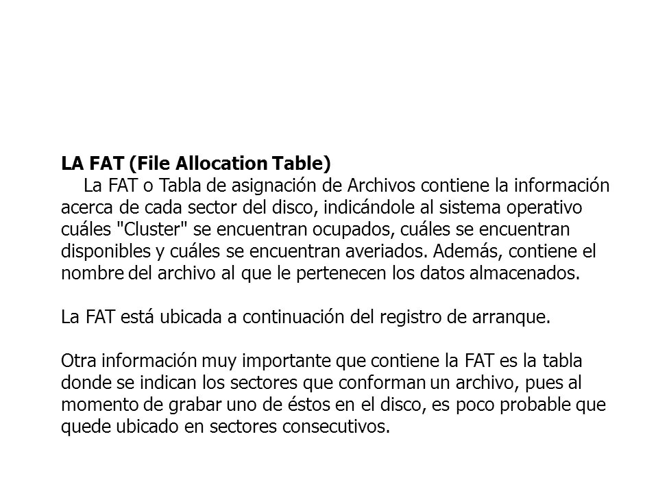 LA FAT (File Allocation Table)
