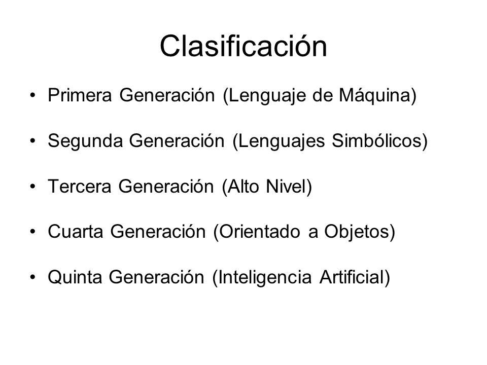 Clasificación Primera Generación (Lenguaje de Máquina)