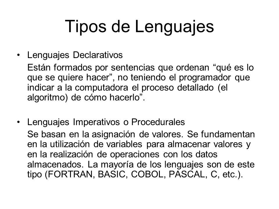 Tipos de Lenguajes Lenguajes Declarativos