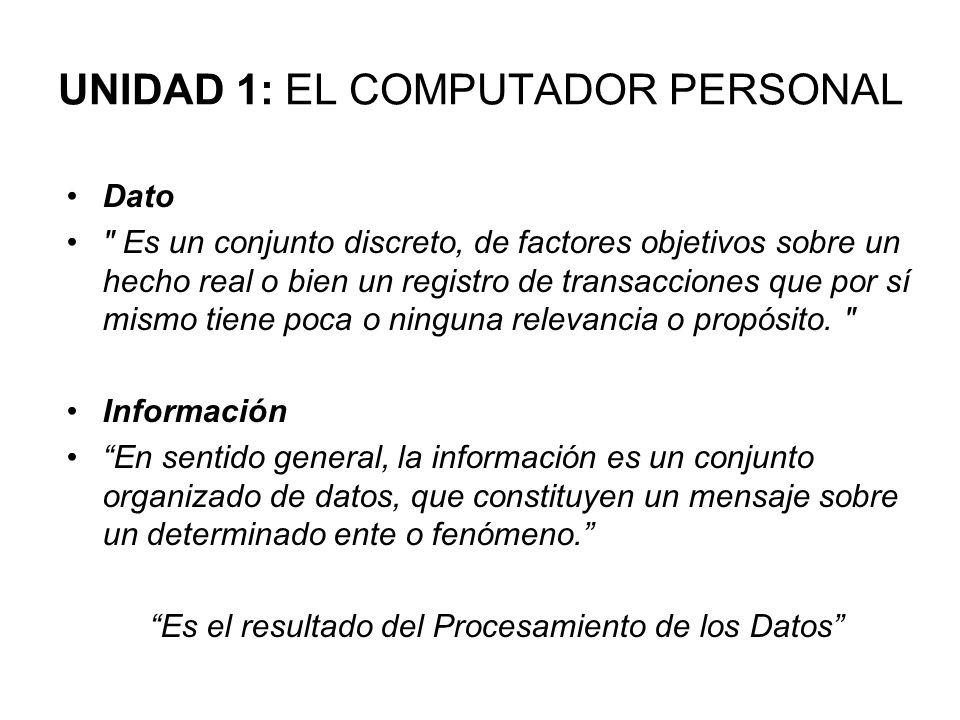 UNIDAD 1: EL COMPUTADOR PERSONAL