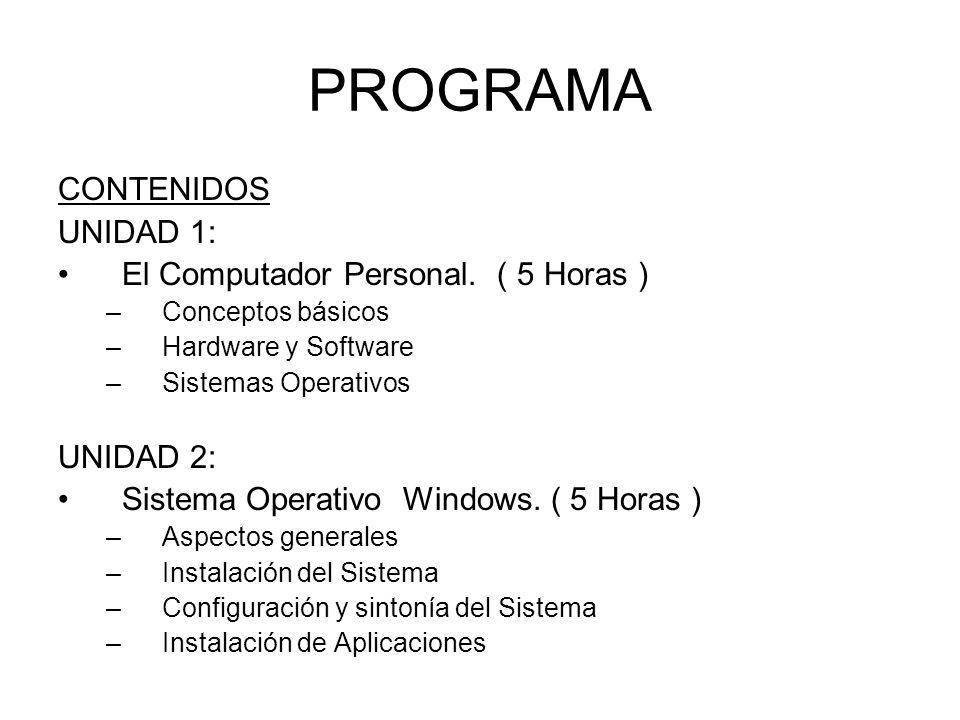 PROGRAMA CONTENIDOS UNIDAD 1: El Computador Personal. ( 5 Horas )