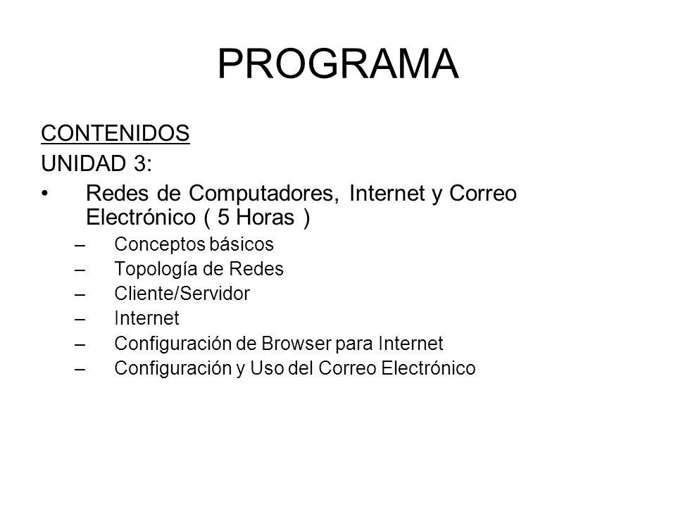 PROGRAMA CONTENIDOS UNIDAD 3: