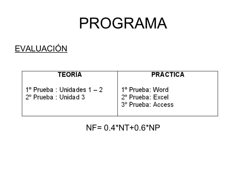 PROGRAMA EVALUACIÓN NF= 0.4*NT+0.6*NP
