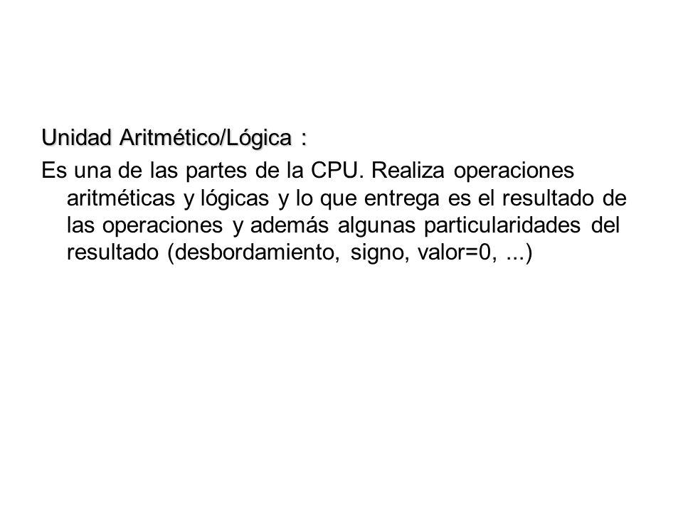Unidad Aritmético/Lógica :