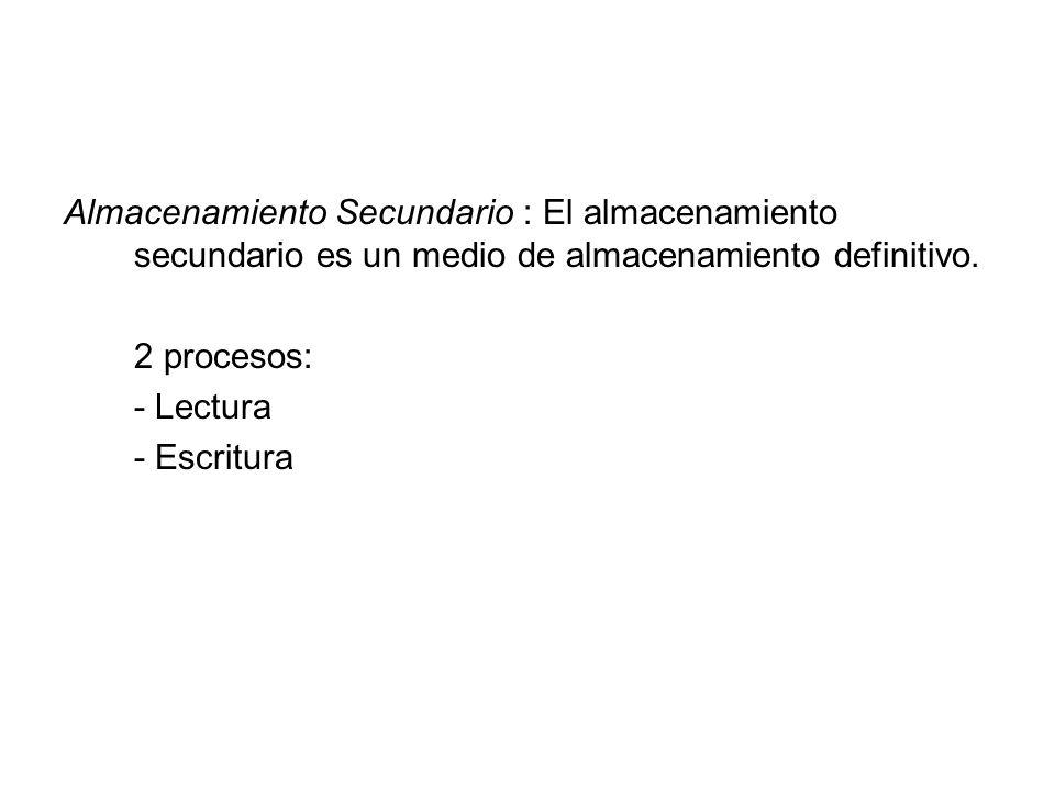 Almacenamiento Secundario : El almacenamiento secundario es un medio de almacenamiento definitivo.