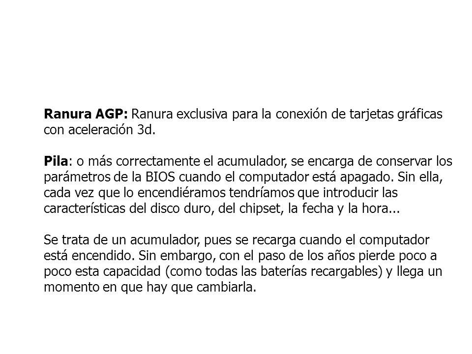 Ranura AGP: Ranura exclusiva para la conexión de tarjetas gráficas con aceleración 3d.