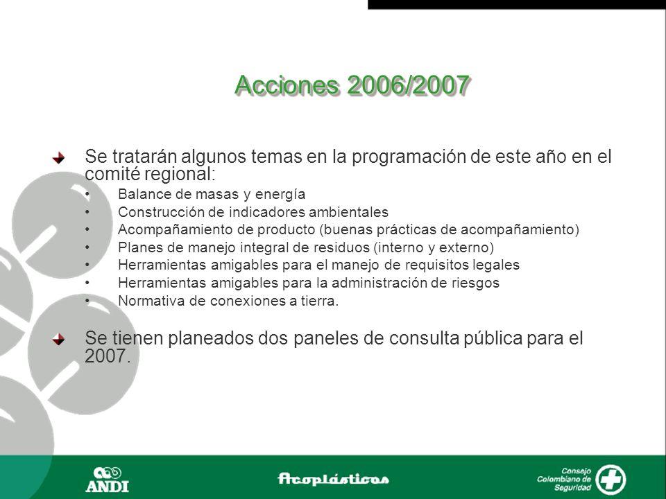 Acciones 2006/2007 Se tratarán algunos temas en la programación de este año en el comité regional: Balance de masas y energía.