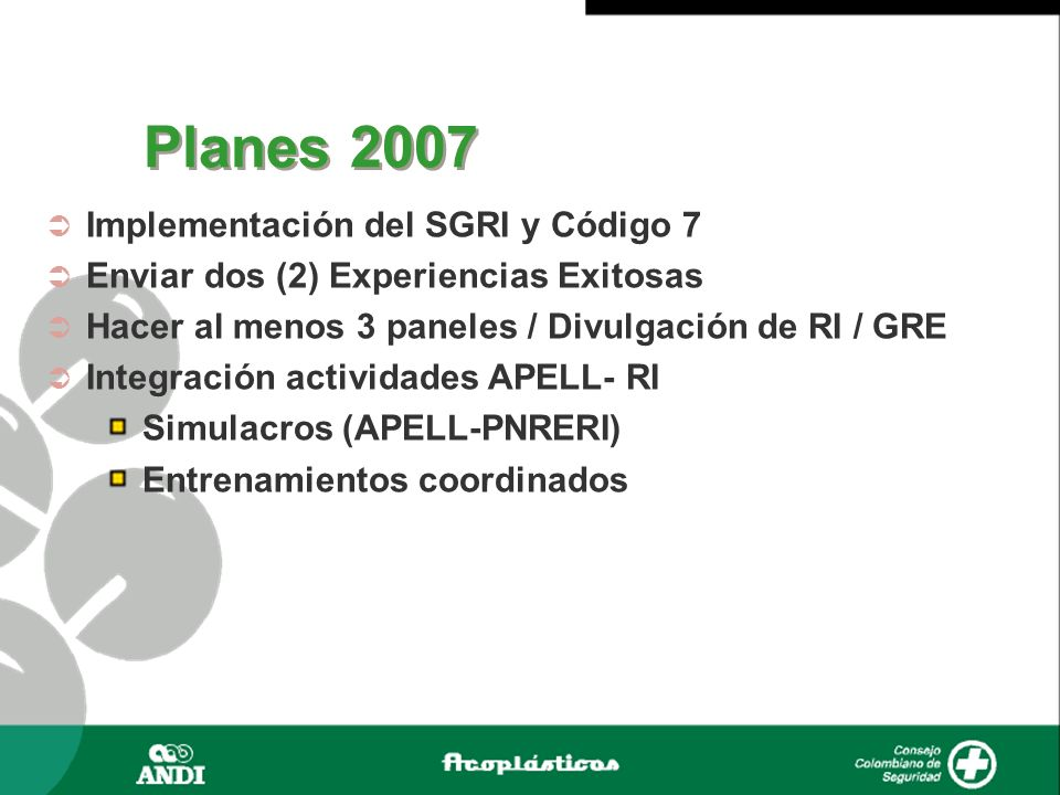Planes 2007 Implementación del SGRI y Código 7