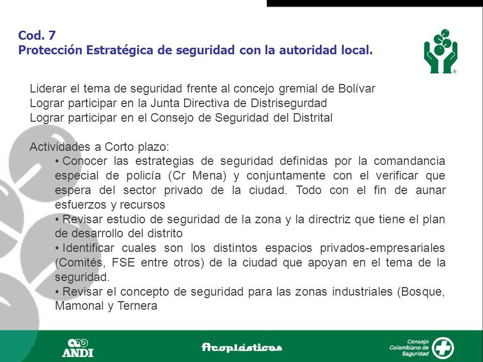 Cod. 7 Protección Estratégica de seguridad con la autoridad local.
