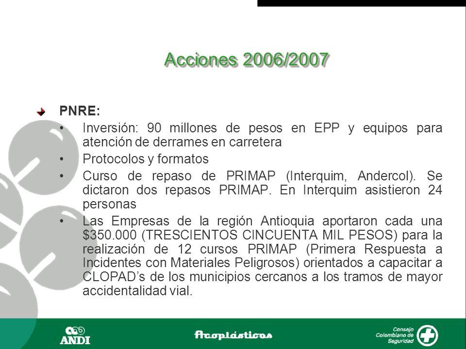 Acciones 2006/2007 PNRE: Inversión: 90 millones de pesos en EPP y equipos para atención de derrames en carretera.