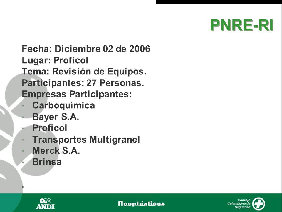 PNRE-RI Fecha: Diciembre 02 de 2006 Lugar: Proficol