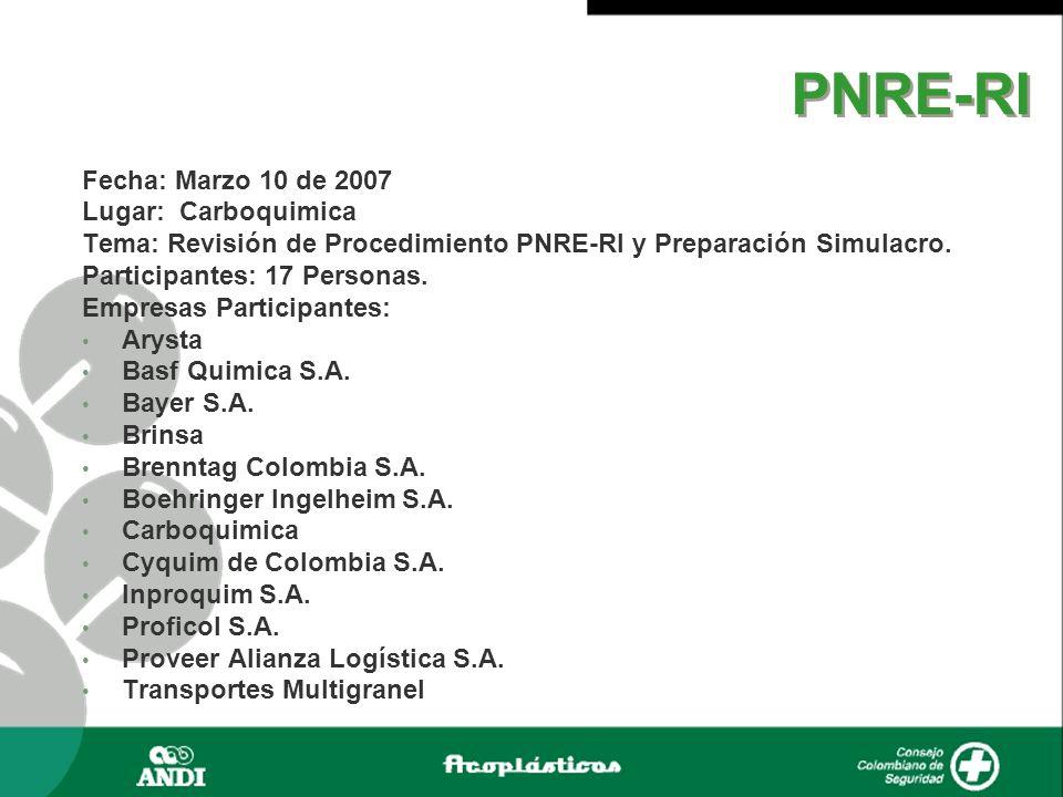PNRE-RI Fecha: Marzo 10 de 2007 Lugar: Carboquimica