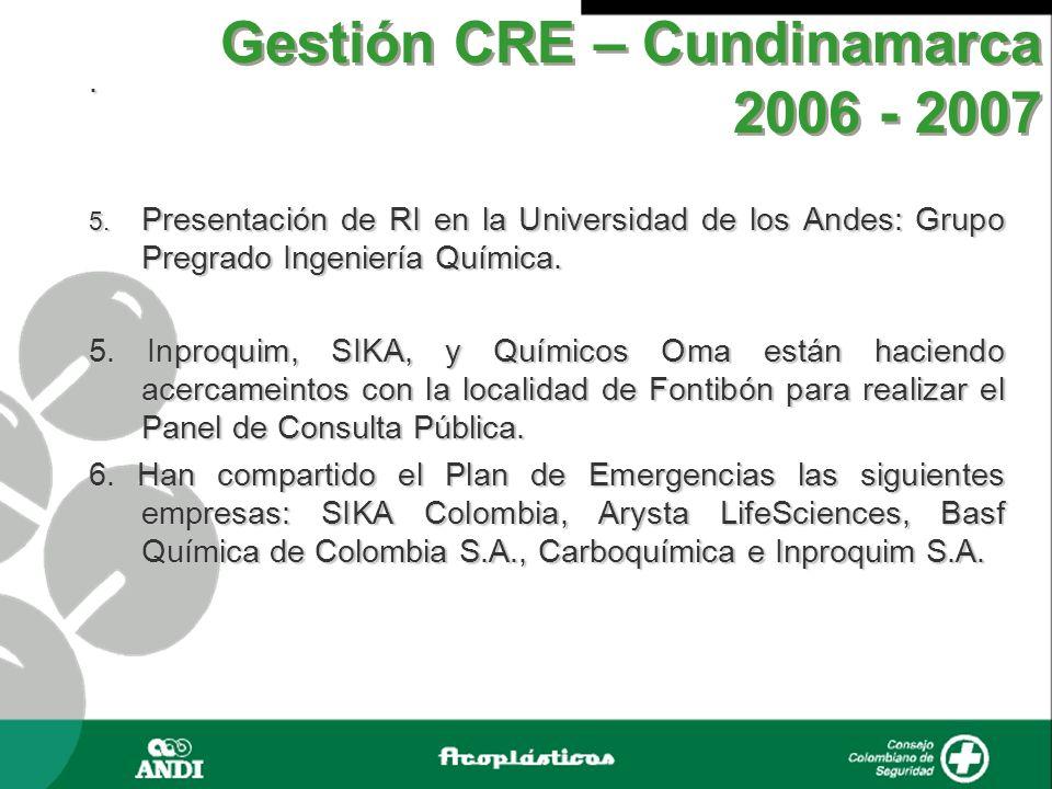 Gestión CRE – Cundinamarca 2006 - 2007