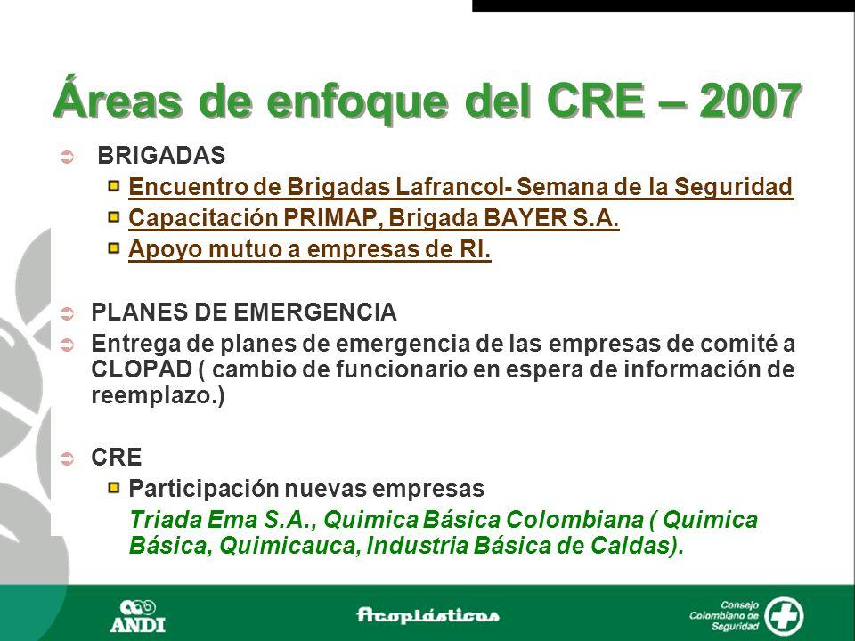 Áreas de enfoque del CRE – 2007