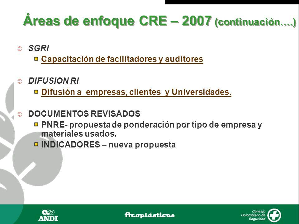 Áreas de enfoque CRE – 2007 (continuación….)