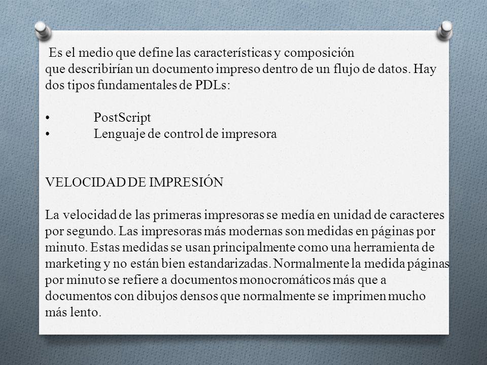 Es el medio que define las características y composición que describirían un documento impreso dentro de un flujo de datos.