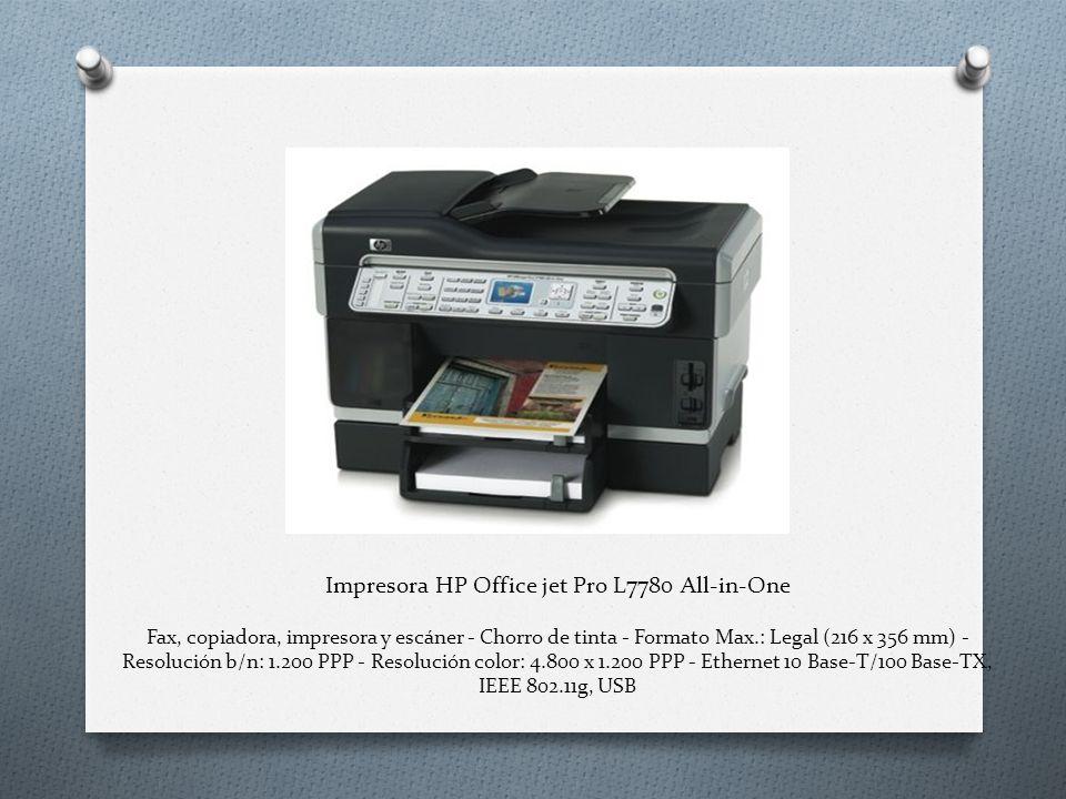 Impresora HP Office jet Pro L7780 All-in-One Fax, copiadora, impresora y escáner - Chorro de tinta - Formato Max.: Legal (216 x 356 mm) - Resolución b/n: 1.200 PPP - Resolución color: 4.800 x 1.200 PPP - Ethernet 10 Base-T/100 Base-TX, IEEE 802.11g, USB