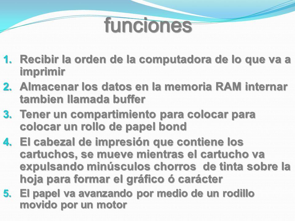 funciones Recibir la orden de la computadora de lo que va a imprimir