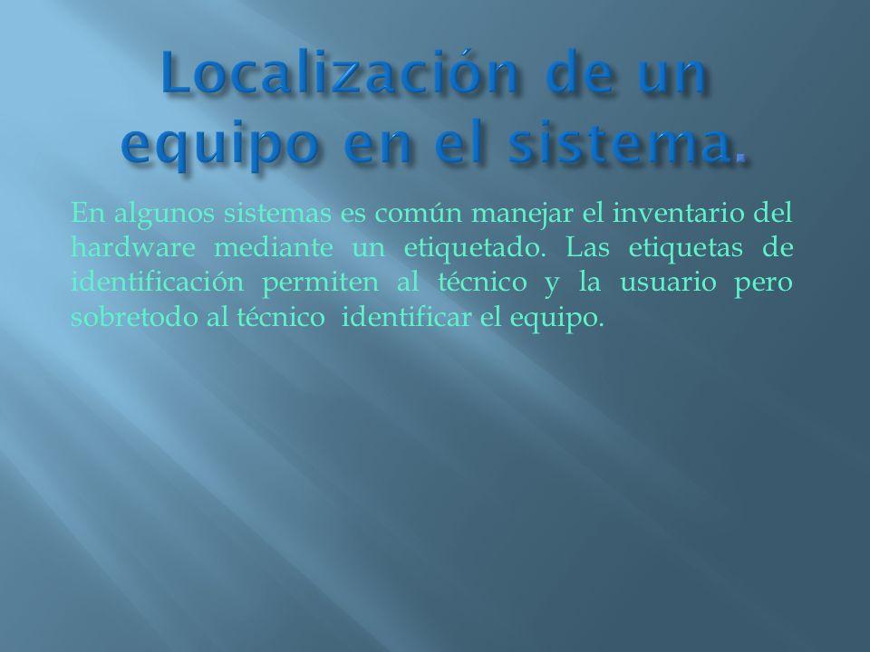 Localización de un equipo en el sistema.
