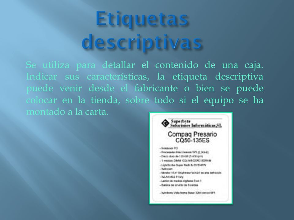 Etiquetas descriptivas