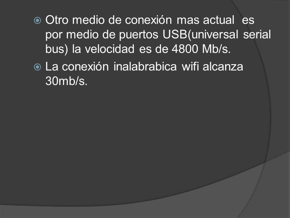Otro medio de conexión mas actual es por medio de puertos USB(universal serial bus) la velocidad es de 4800 Mb/s.