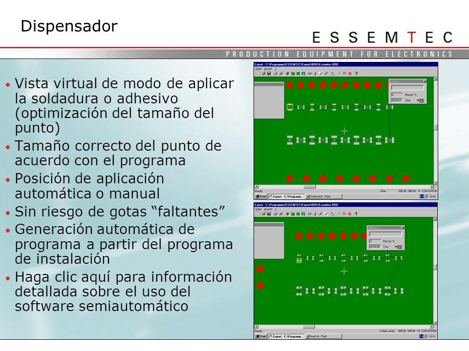 Dispensador Vista virtual de modo de aplicar la soldadura o adhesivo (optimización del tamaño del punto)