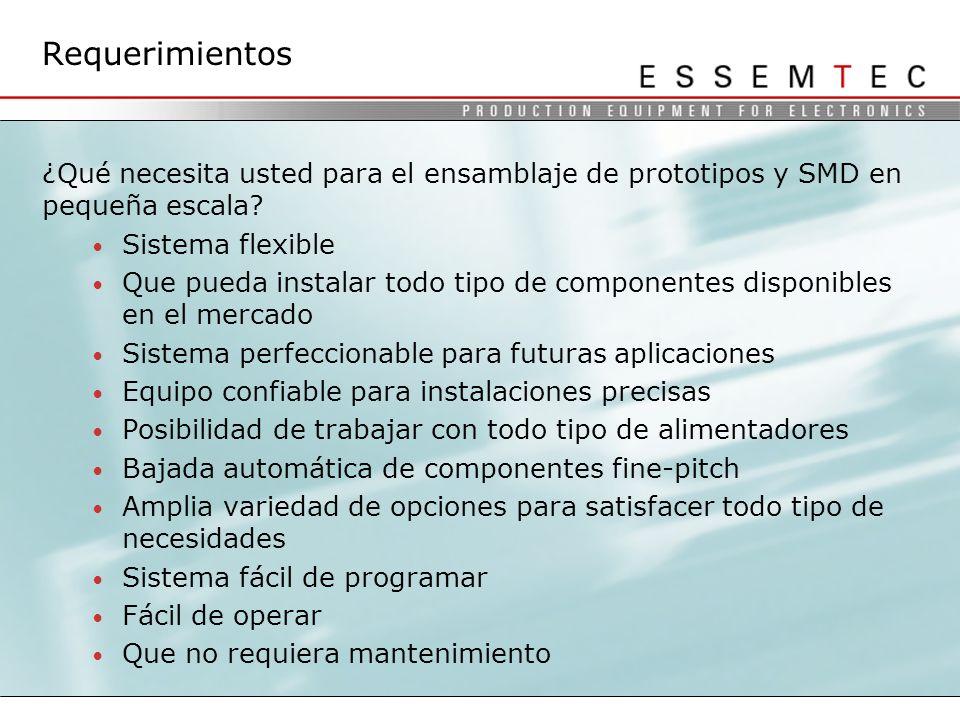 Requerimientos ¿Qué necesita usted para el ensamblaje de prototipos y SMD en pequeña escala Sistema flexible.