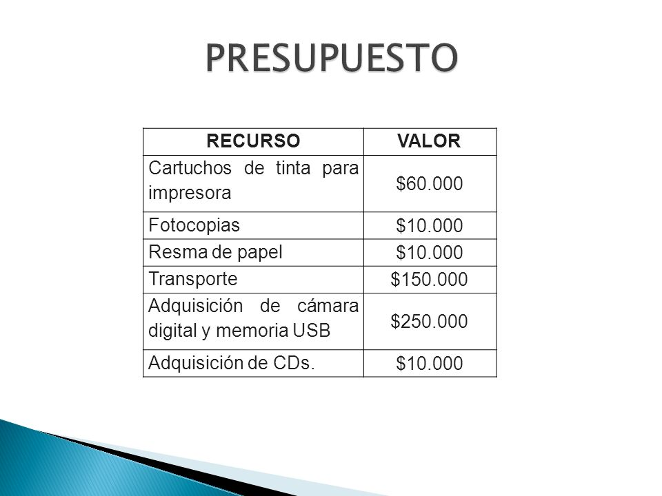 PRESUPUESTO RECURSO VALOR Cartuchos de tinta para impresora $60.000