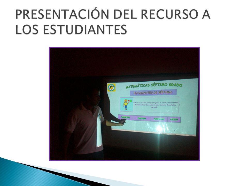 PRESENTACIÓN DEL RECURSO A LOS ESTUDIANTES