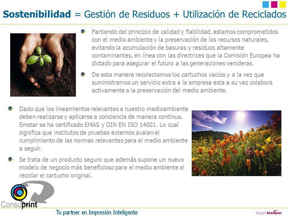 Sostenibilidad = Gestión de Residuos + Utilización de Reciclados