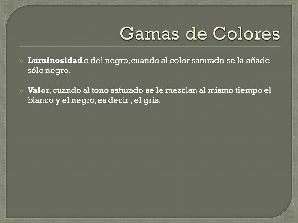 Gamas de Colores Luminosidad o del negro, cuando al color saturado se la añade sólo negro.
