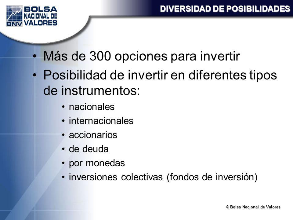 Más de 300 opciones para invertir