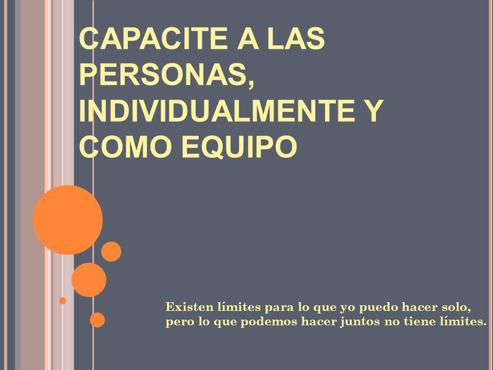 CAPACITE A LAS PERSONAS, INDIVIDUALMENTE Y COMO EQUIPO