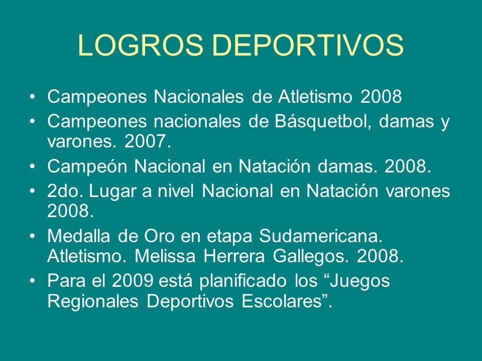LOGROS DEPORTIVOS Campeones Nacionales de Atletismo 2008