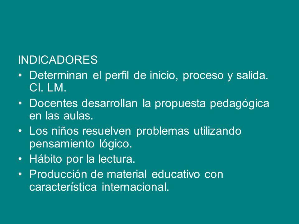 INDICADORES Determinan el perfil de inicio, proceso y salida. CI. LM. Docentes desarrollan la propuesta pedagógica en las aulas.