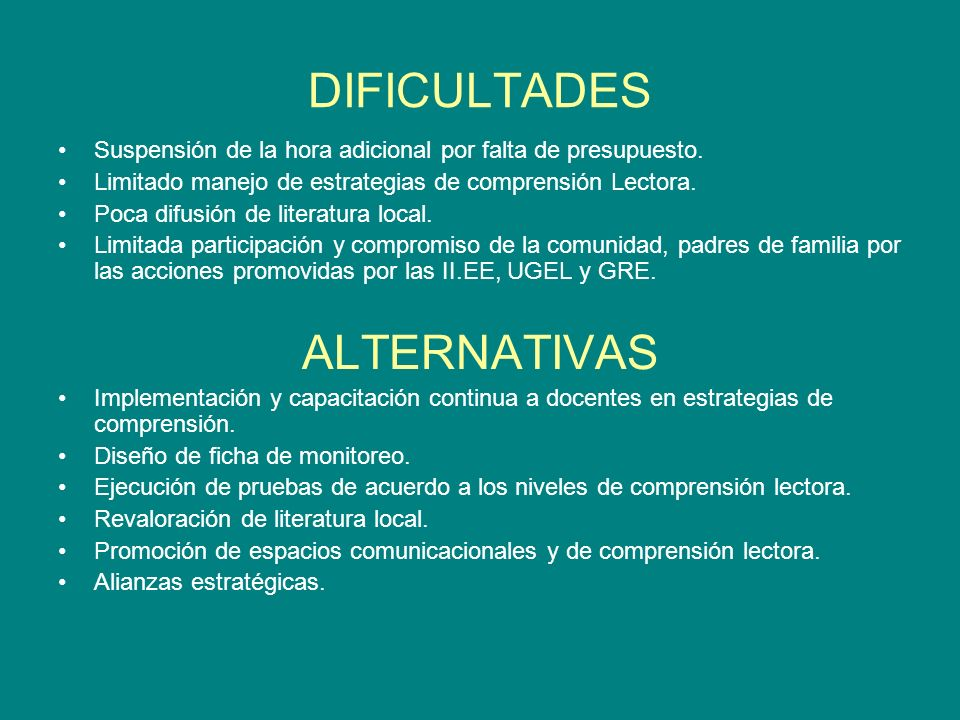 DIFICULTADES ALTERNATIVAS