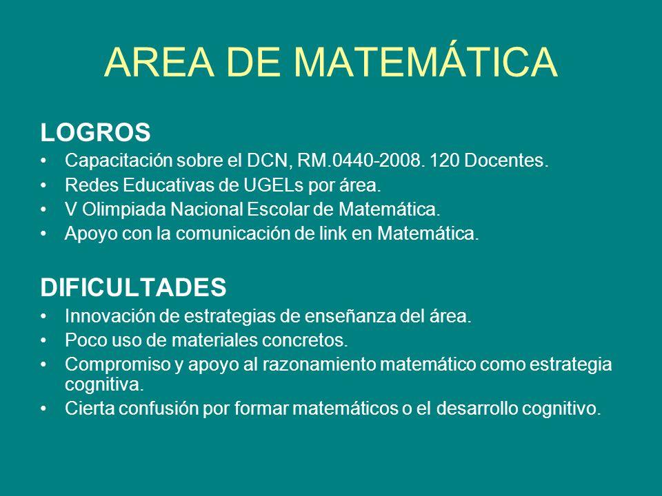 AREA DE MATEMÁTICA LOGROS DIFICULTADES