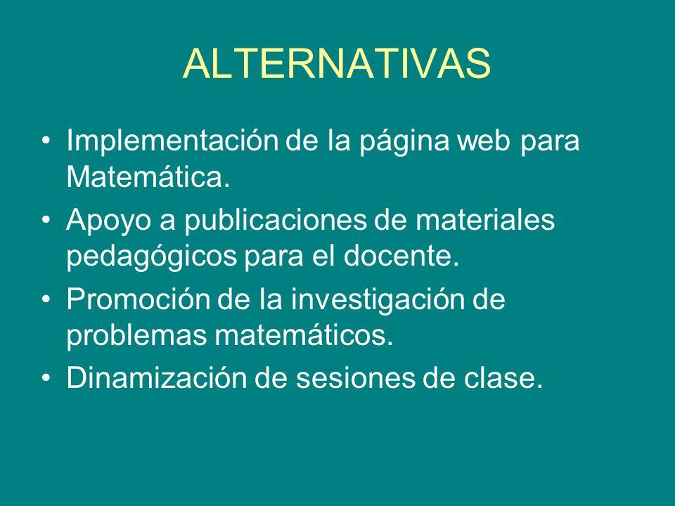 ALTERNATIVAS Implementación de la página web para Matemática.