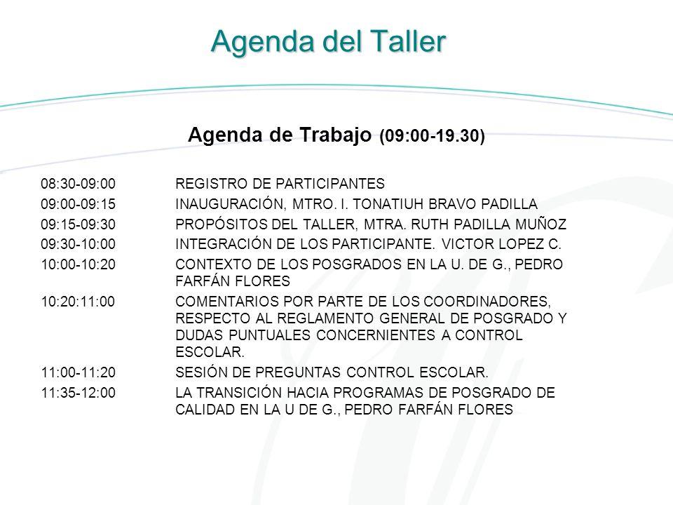 Agenda del Taller Agenda de Trabajo (09:00-19.30)