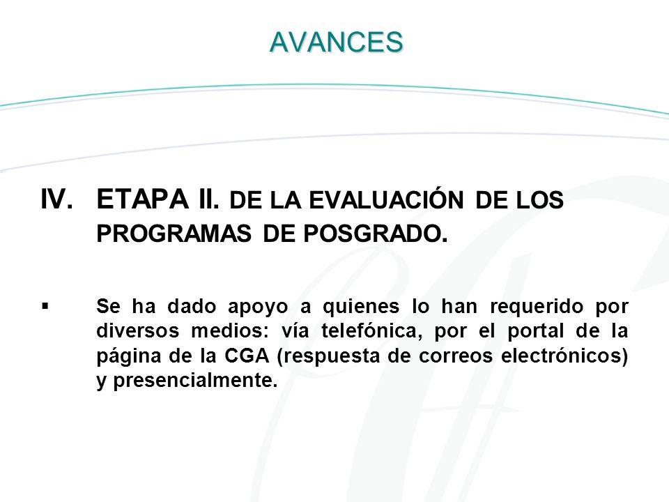 ETAPA II. DE LA EVALUACIÓN DE LOS PROGRAMAS DE POSGRADO.