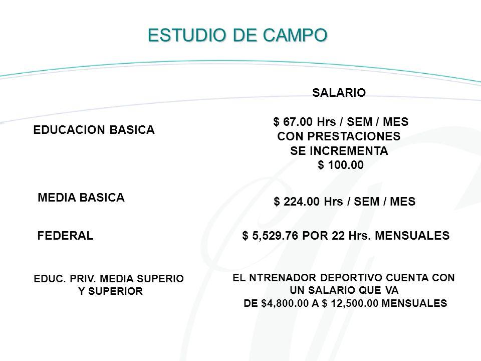 EDUC. PRIV. MEDIA SUPERIO EL NTRENADOR DEPORTIVO CUENTA CON