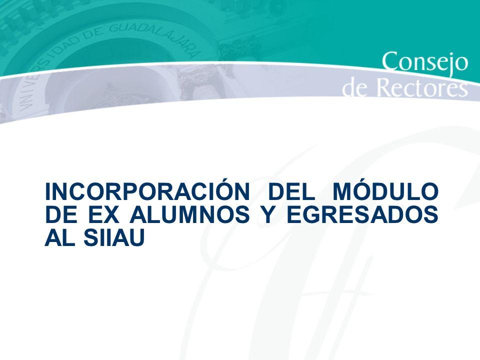 INCORPORACIÓN DEL MÓDULO DE EX ALUMNOS Y EGRESADOS AL SIIAU