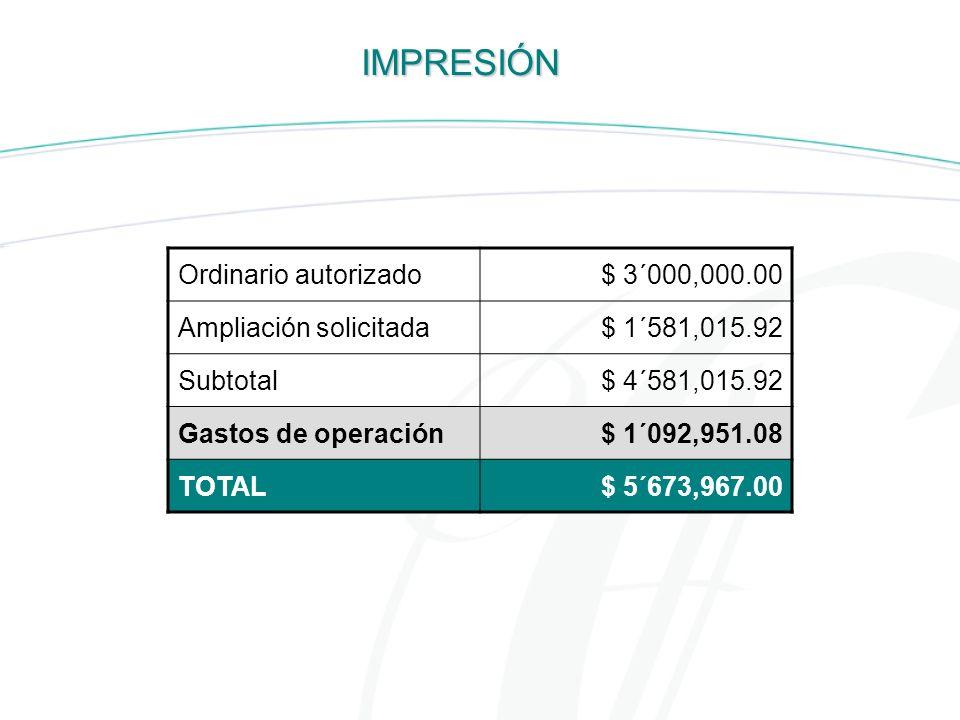 IMPRESIÓN Ordinario autorizado $ 3´000,000.00 Ampliación solicitada