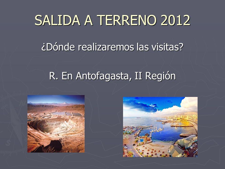 SALIDA A TERRENO 2012 ¿Dónde realizaremos las visitas