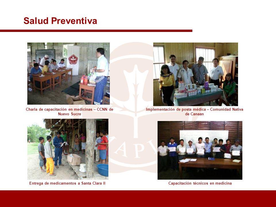 Salud Preventiva Charla de capacitación en medicinas – CCNN de Nuevo Sucre. Implementación de posta médica – Comunidad Nativa de Canaan.
