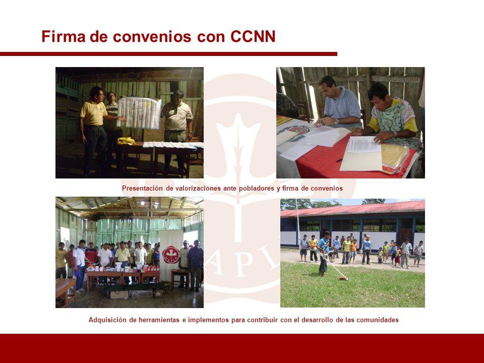 Presentación de valorizaciones ante pobladores y firma de convenios