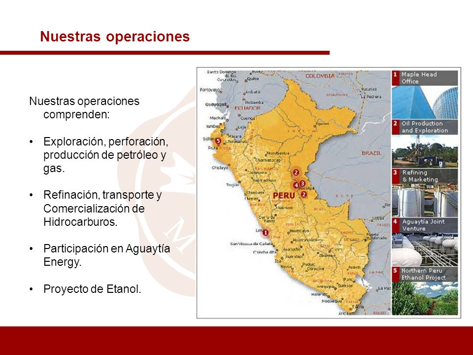 Nuestras operaciones Nuestras operaciones comprenden: