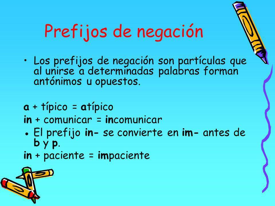 Prefijos de negación Los prefijos de negación son partículas que al unirse a determinadas palabras forman antónimos u opuestos.